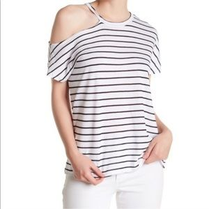 Stateside cold shoulder striped tshirt